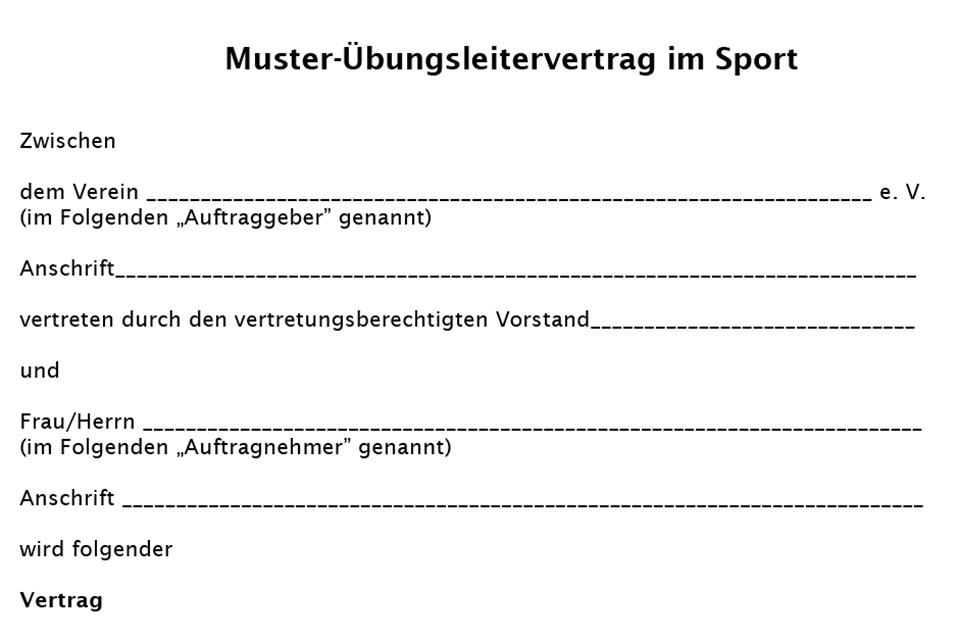 übungsleiter Mustervertrag Landessportbund Sachsen